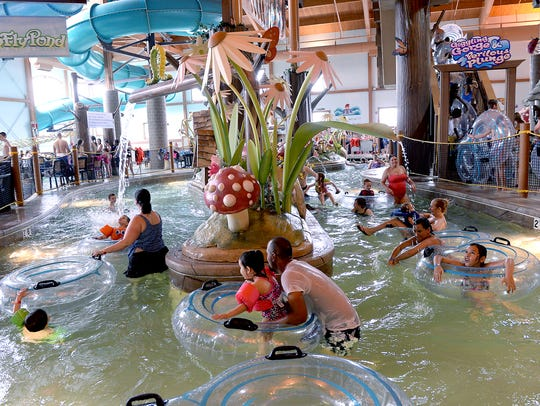Patrons at Zender's Splash Village waterpark coast through the lazy river. The Frankenmuth hotel offers two waterpark areas.