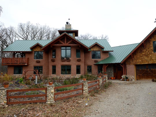 The Trumpey's straw bale house pictured on November