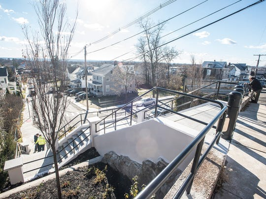 The rebuilt Birch Street Stairs in Boonton in use,