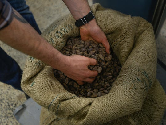 Peru cocoa seeds used in the Peru chocolate bar made in Nathan Miller Chocolate store in Chambersburg, Pa. on Wednesday, Dec. 30, 2015.