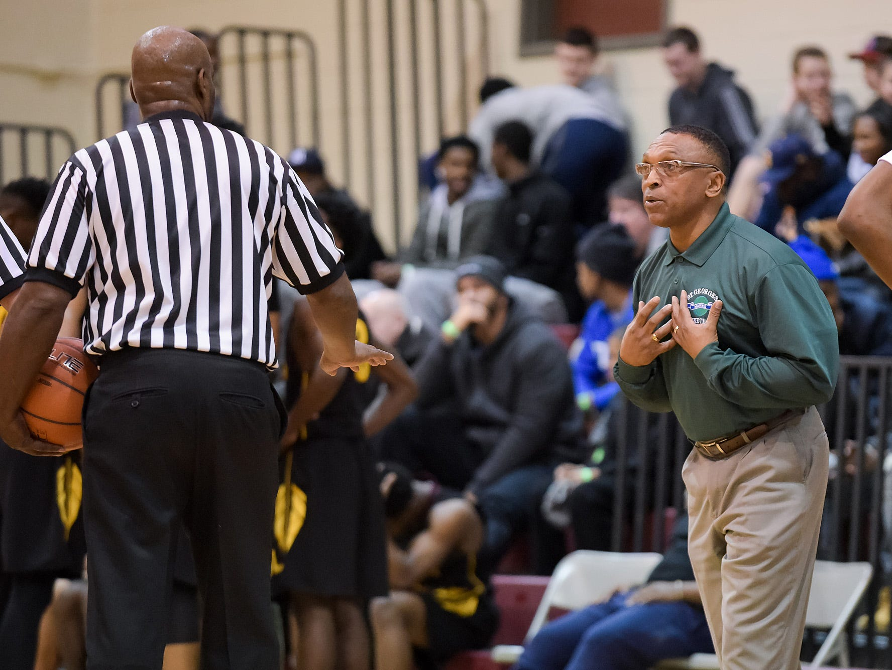 Rod Griffin, St. Georges head coach, has some words with the referees.