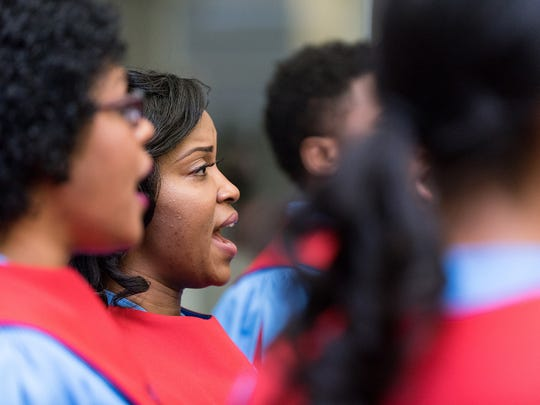 """The Delaware State University Choir, sings """"Lift Every Voice and Sing"""" at Gov. Jack Markell's signing of House Joint Resolution 10, proclamation of resolution apologizing for Delaware's role in slavery, at the Delaware Public Archives in Dover on Wednesday morning."""