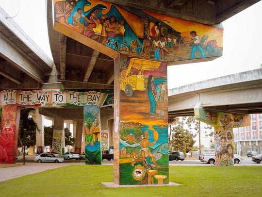The painted pillars of the San Diego-Coronado Bridge