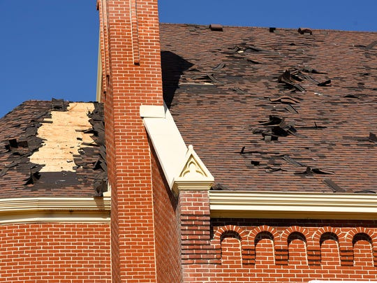 Damage can be seen Saturday, March 12, after a fire at the Church of St. Mary in Melrose.
