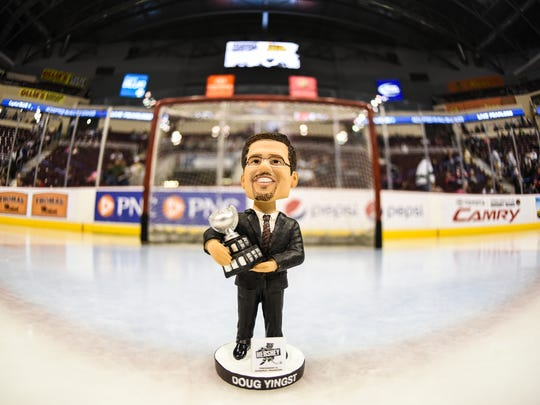 The first 5,000 fan received a Doug Yingst bobblehead as the Hershey Bears honored president and general manager Doug Yingst for his 34 years of service to the Hershey Bears organization on Saturday, March 26, 2016. Yingst will retire at the end of the year.