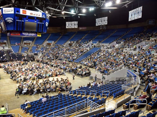 At the Washoe County Democratic Convention, Lawlor Events Center at the University of Nevada, Reno filled with an estimated 2,000 people, including delegates, alternates and volunteers.