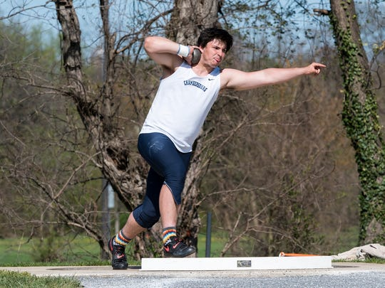 Chambersburg's Kelton Chastulik throws the shot put at the Shippensburg University High School Track and Field Invitational on Saturday, April 23, 2016. Chastulik took second place in shot put.