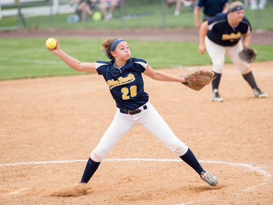 Liz Ward pitches for Greencastle during a District 3 Class AAA quarterfinal softball game against East Pennsboro on Thursday, May 26, 2016. Greencastle defeated East Pennsboro 10-4.