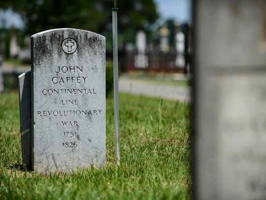 The headstone for John Caffey, a Revolutionary War