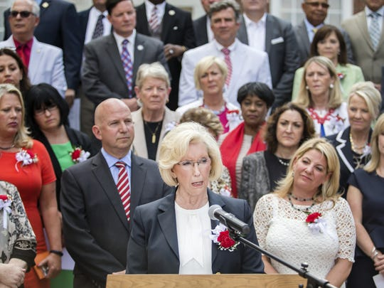 Lilly Ledbetter, a nationally-known advocate for equal pay for women, speaks at a June 30 event at Legislative Hall in Dover. Ledbetter praised a package of bills legislators passed that took aim at gender disparities.