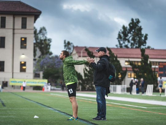 Sam Lapray works with two-time Olympian Nick Symmonds