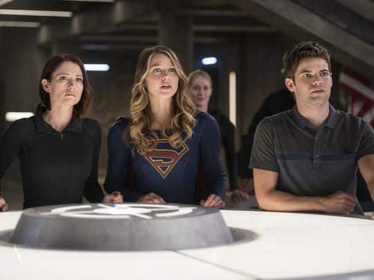 "Chyler Leigh (from left) as Alex Danvers, Melissa Benoist Kara as Supergirl, and Jeremy Jordan as Winn Schott appear in a scene from the ""Supergirl"" episode titled ""The Last Children of Krypton."""