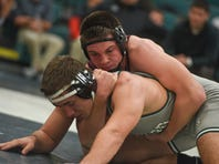Shippensburg 220-pounder Cameron Tinner, top, won seven tournament titles last season and finished 34-2. He is one of several area wrestlers expecting big things this season.
