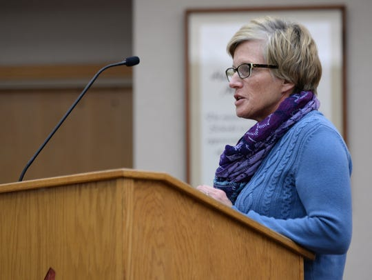 Patty Morley speaks about her son, Evan, on Monday,