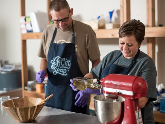 Buff City Soap founders Brad Kellum and Jennifer Ziemianin