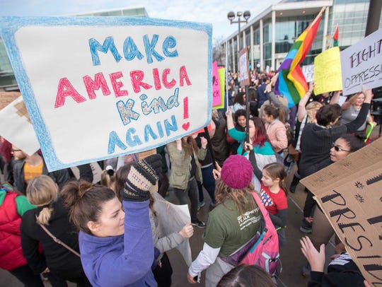 Several thousand people take part in a women's march
