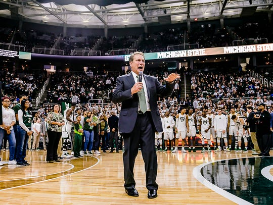 MSU Men's Basketball Head Coach Tom Izzo speaks to