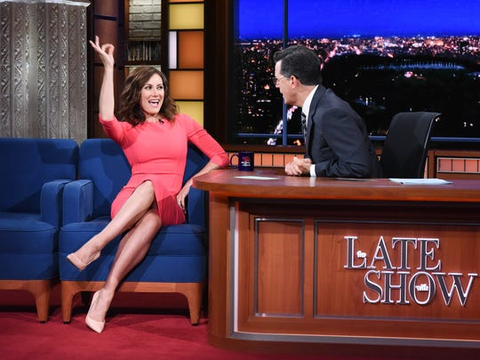 Laura Benanti takes the guest's chair on Monday's 'The Late Show With Stephen Colbert,' where they discussed her impersonation of Melania Trump.