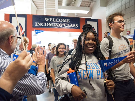 New SUNY New Paltz students take part in the fall convocation ceremony on campus on Friday.