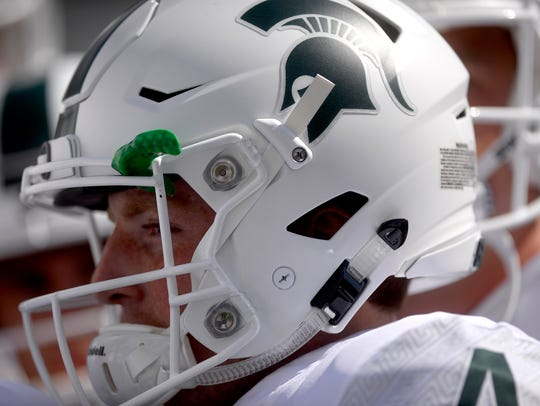 Michigan State's Matt Coghlin warms up on the field