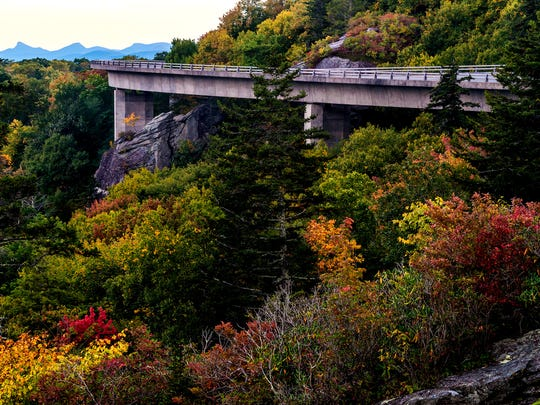 The Linn Cove Viaduct in the Grandfather Mountain area of the Blue Ridge Parkway is showing fall color, at an elevation of 4,200 feet.