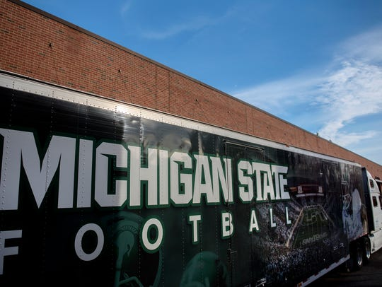 The Michigan State football team's equipment trailer
