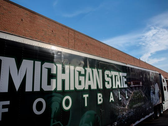 The Michigan State football team's equipment trailer at the Duffy Daugherty Football Building photographed on Thursday, Oct. 26, 2017, in East Lansing. Glenn Edgett will drive the equipment to Evanston for MSU's game against Northwestern. Edgett has been delivering the Spartans football equipment to away games for nine years.