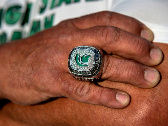 Glenn Edgett's Rose Bowl ring, photographed on Thursday, Oct. 26, 2017, in East Lansing, he got while being the truck driver for MSU football's equipment. Edgett has been delivering the Spartans football equipment to away games for nine years.