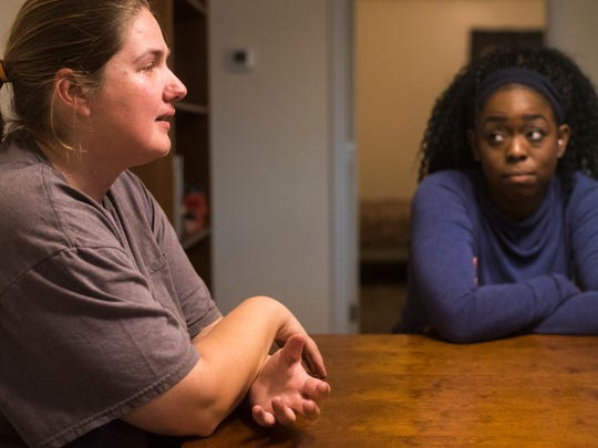"""Alissa Doland tears up as she thinks of hardships experienced during the build and the support that rose up for her from Jazmyn Steel in that time. """"You kind of realize how many people care about you when you're going through this,"""" said Doland."""