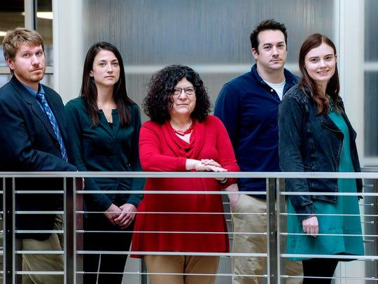 LSJ watchdog team Justin Hinkley, Beth LeBlanc, Judy