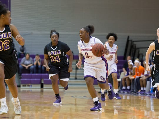NSU's Nautica Grant (0) leads the fastbreak Wednesday against LSUA.
