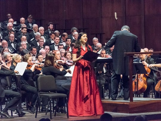 Soprano soloist Feryal Qudourah sings with the Tallahassee