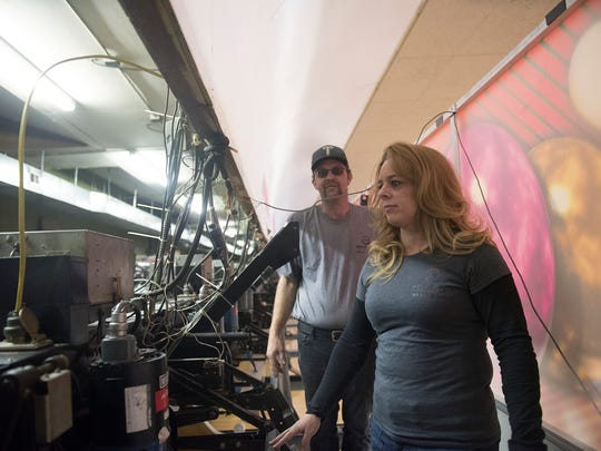 Bret and Melania Hockensmith work near the pins on Friday, January 19, 2018 The Hockenskith's are the new owners of Nellie Fox Bowl, 3587 Molly Pitcher Highway, south of Chamberburg.