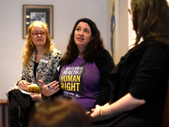 Jill Wodnick, center, co-hosted the discussion with