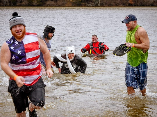 Participants in the 2017 Polar Plunge raise funds for