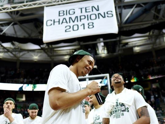 Michigan State's Miles Bridges speaks to the crowd