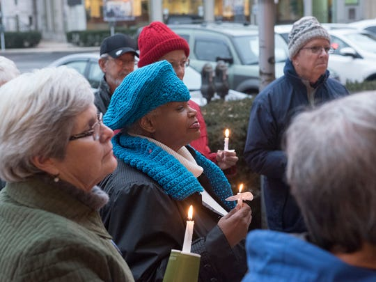 A candlelight vigil was held Friday, February 23, 2018 on Memorial Square in front of Central Presbyterian Church. The event ws held to honor the lives lost in the Parkland, FL., high school shooting and to uplift concern for our children's safety.