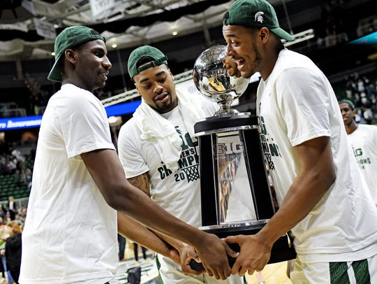 From left, Michigan State's Jaren Jackson Jr., Nick