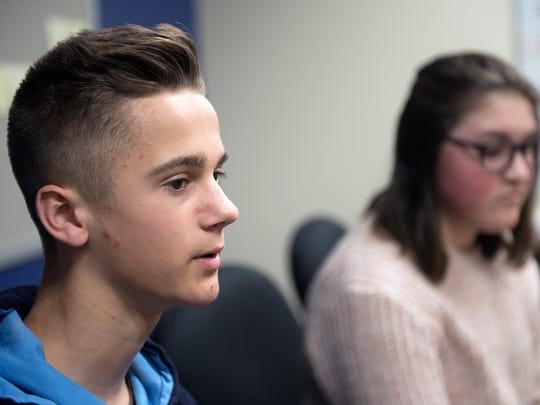 Isaac Moats speaks as Eve Avey listens in the background. Waynesboro Area Middle School students shared their opinions Thursday, April 5, 2018 on recent security concerns and gun issues.