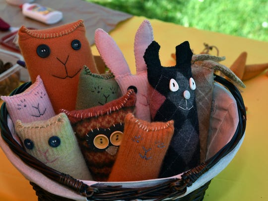 Eco toys created by Cindy Brown Bensey during the 19th annual EarthFest at Knoxville Botanical Garden and Arboretum on Saturday, April 28, 2018.