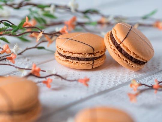 Chocolate orange macarons are a spring seasonal flavor
