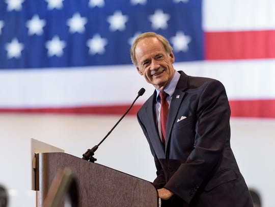 U.S. Sen. Tom Carper (D-DE) makes remarks at a rally in 2015. DOUG CURRAN/SPECIAL TO THE NEWS JOURNAL