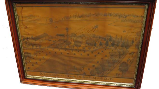 The Brader drawing of the Benjamin Doll farm.