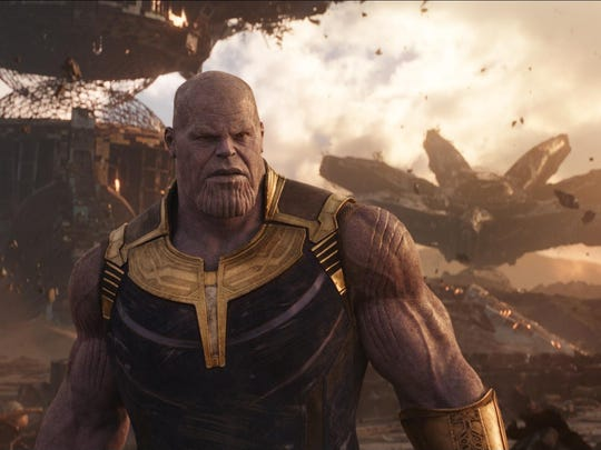 "Thanos (Josh Brolin) in ""Infinity War"". The film is a two-part culmination of 10 years of story lines that began with Marvel Studios' ""Iron Man"" in 2008. The second installment is due to be released in May 2019."