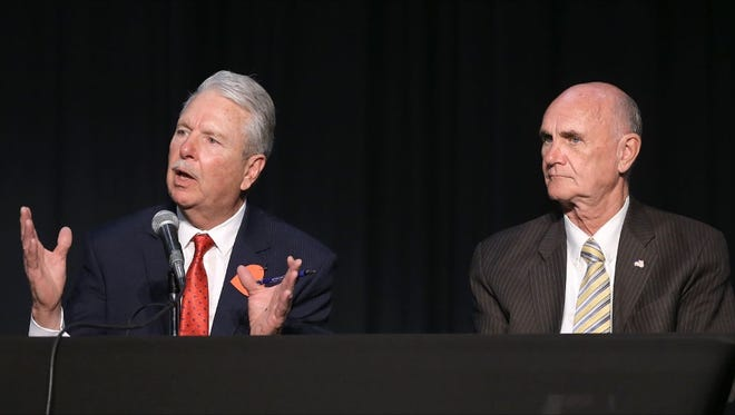 Businessman Ricardo Samaniego, left, and former El Paso Mayor John Cook, both Democrats, are vying for the County Judge seat.