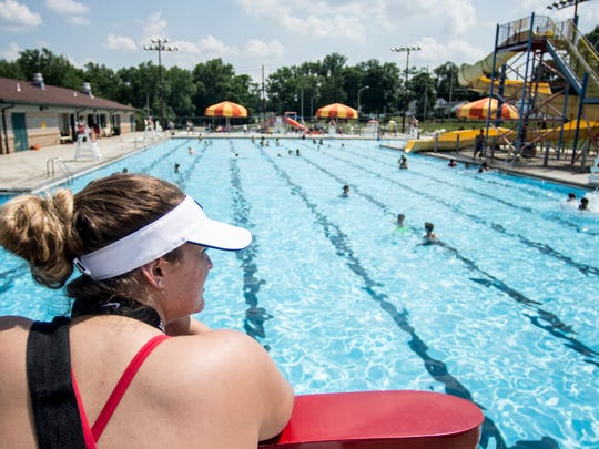 Dozens came out to cool off from the scorching heat during the opening day for Cordell Pool in Richmond on Monday, June 18, 2018.