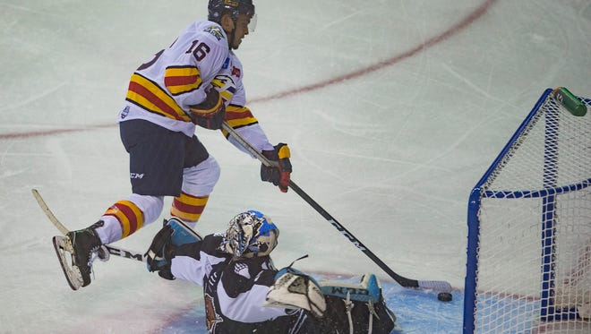 Michael Joly, pictured during an Oct. 13 game against Utah, scored all three of the Colorado Eagles' goals Saturday night in a 3-2 overtime win over the Fort Wayne Komets. Game 2 in the best-of-7 Western Conference Finals is at 7:05 p.m. Sunday at the Budweiser Events Center in Loveland.