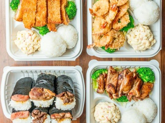 Chicken Katsu, crispy shrimp, musubi appetizers and Hawaiian BBQ chicken from Ono Hawaiian BBQ.