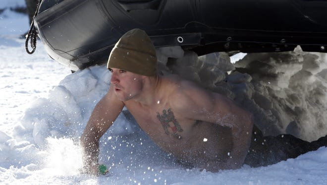 A U.S. Marine attends a cold weather drill  with South Korean Marines in Pyeongchang, South Korea.