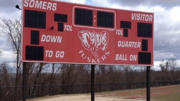Scoreboard at Somers High School